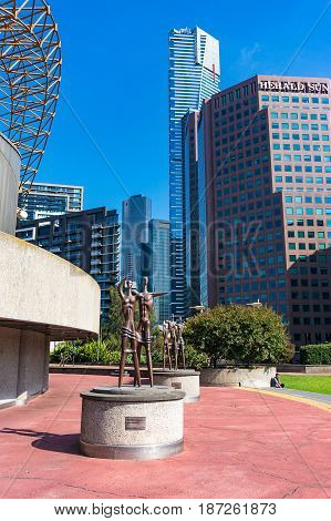 Sculptures Of Families Near Arts Centre Melbourne