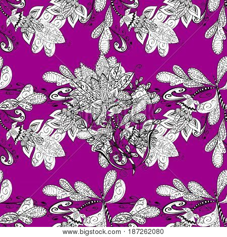 Classic vintage background. Traditional orient ornament. Seamless pattern on magenta background with white elements. Seamless classic vector white pattern.