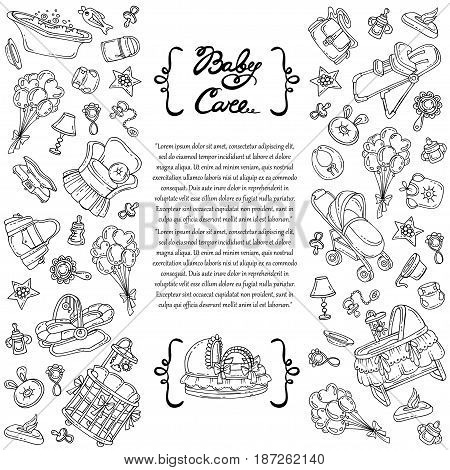 Decorative cover with hand drawn isolated symbols of baby care on white background. Illustration on the theme of newborn baby symbols. Vector background for use in design