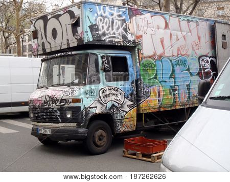Graffitti On A Truck