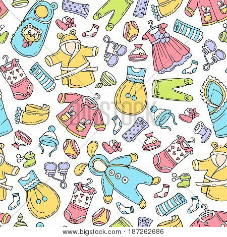 Vector seamless pattern with hand drawn colored clothes for newborn baby. Pattern on the theme of fashion for children. Background for use in design packing fabric web site web page