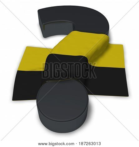 question mark and flag of saxony-anhalt - 3d illustration
