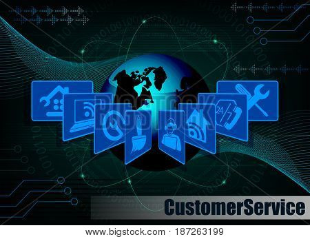 dark blue background with the silhouette of the globe and symbols customer service Internet