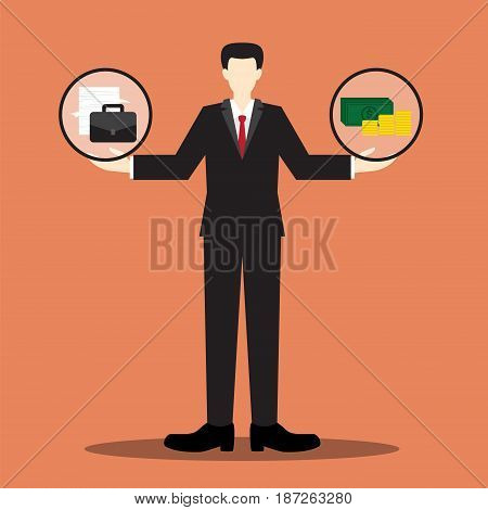 work and money on the businessman balance scale , balance life concept, between your work and yourmoney, vector illustration