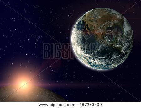 Fantasy composition with the Earth in a starry sky. The sun rises behind the Moon.