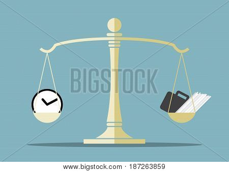 work and time on the balance scale , balance life concept, between your time and your work, vector illustration
