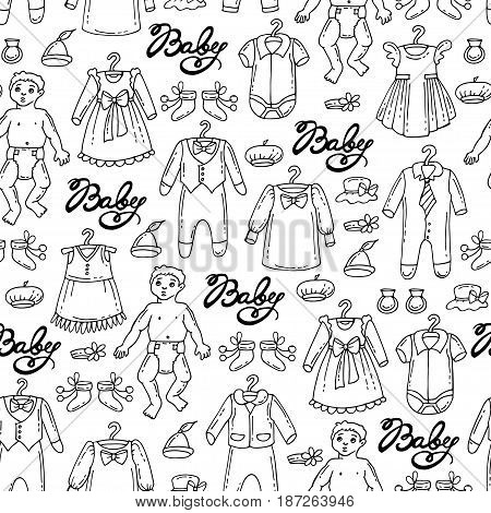 Vector seamless pattern with hand drawn isolated clothes for little boys and girls on white color. Pattern on the theme of fashion for children. Background for use in design packing fabric web site web page