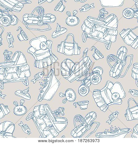 Vector seamless pattern with hand drawn isolated goods accessories for newborn baby on beige color. Pattern on the theme of little baby. Background for use in design packing fabric web site web page