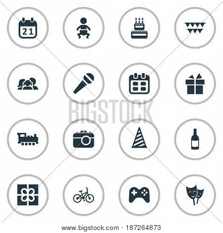 Vector Illustration Set Of Simple Holiday Icons. Elements Camera, Domestic, Game And Other Synonyms Days, Actor And Party.