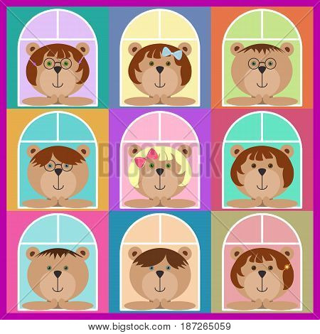 Set of teddy bears classmates looking out of the window. Flat icons. Colorful avatar set, funny girls and boys. Vector illustration for stickers. Children bears with glasses spectacles, ribbons, pins