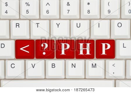 Computer coding with php A close-up of a keyboard with red highlighted text php 3D Illustration