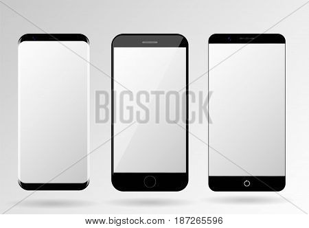 Smartphone mockup blank mobile phone template frameless cellphone set