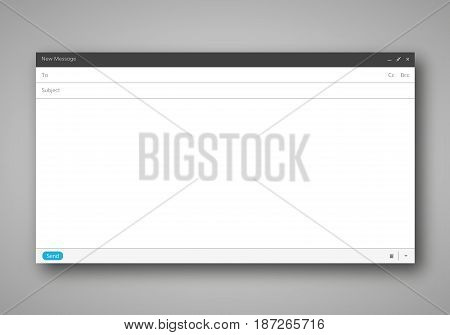 E-mail blank template internet mail frame  interface for mail message