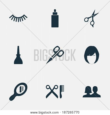 Vector Illustration Set Of Simple Salon Icons. Elements Glass, Nail Polish, Scissors And Other Synonyms Salon, Polish And Beauty.