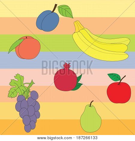 Seamless pattern of fruit. Vector picture apple, pear, pomegranate, bananas, plum, peach, grapes