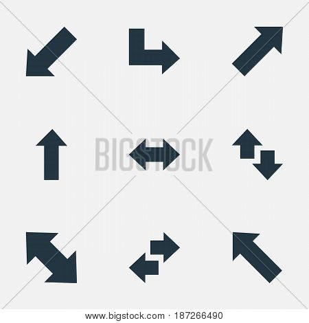 Vector Illustration Set Of Simple Arrows Icons. Elements Upwards-Downwards, Indicator, Upward Direction And Other Synonyms Up, Direction And Left.