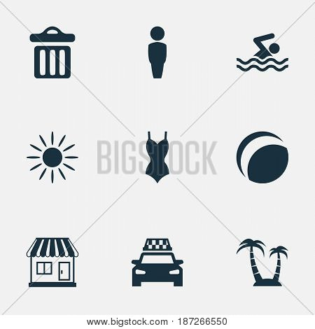Vector Illustration Set Of Simple Beach Icons. Elements Taxi, Store, Garbage And Other Synonyms Cab, Store And Dustbin.