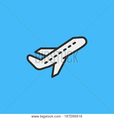 Airplane take off filled outline icon line vector sign flat colorful pictogram. Departure Symbol logo illustration. Pixel perfect