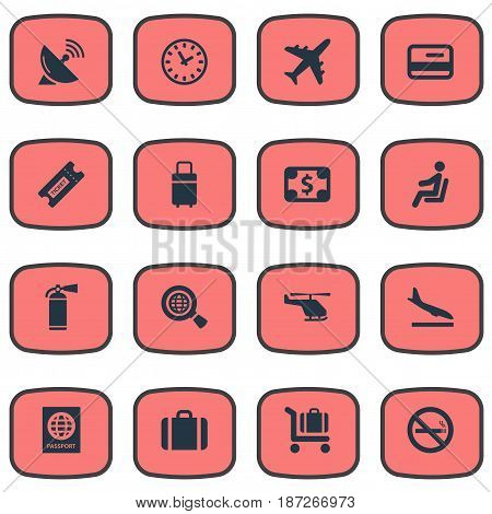 Vector Illustration Set Of Simple Transportation Icons. Elements Credit Card, Baggage Cart, Watch And Other Synonyms Landing, Cart And Certificate.