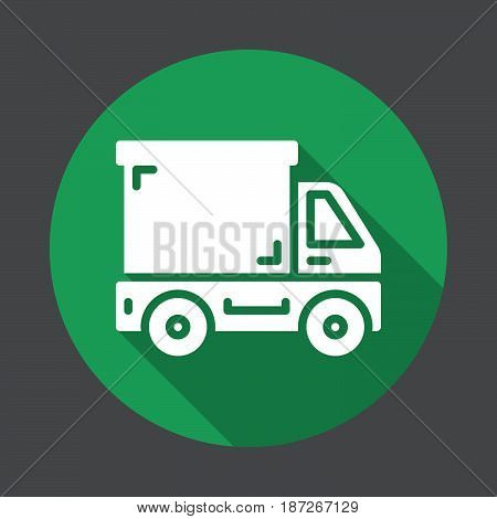 Delivery truck lorry flat icon. Round colorful button circular vector sign with long shadow effect. Flat style design