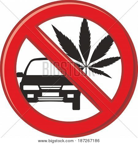 vector art pictogram prohibition on the use of drugs before or while driving a car