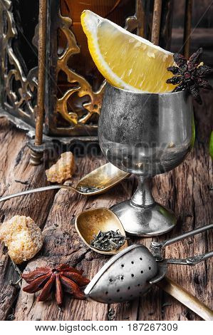 Arabic Tea On Wood Background
