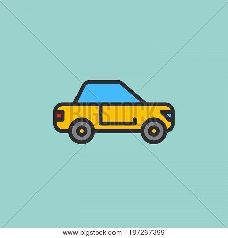 Car sedan filled outline icon line vector sign flat colorful pictogram. Symbol logo illustration. Pixel perfect
