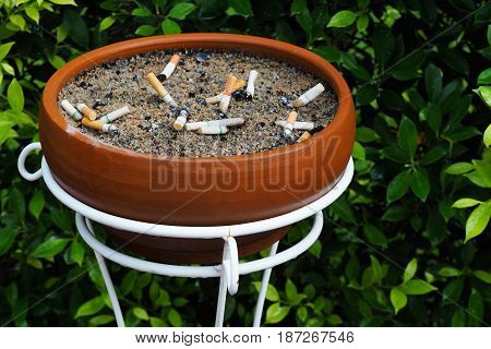 Cigarette stub in brown color baked clay flowerpot and which has white base and green leaf background