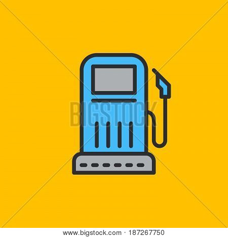 Gas station filled outline icon line vector sign flat colorful pictogram. Symbol logo illustration. Pixel perfect