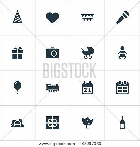 Vector Illustration Set Of Simple Birthday Icons. Elements Infant, Domestic, Ribbon And Other Synonyms Actor, Gift And Family.