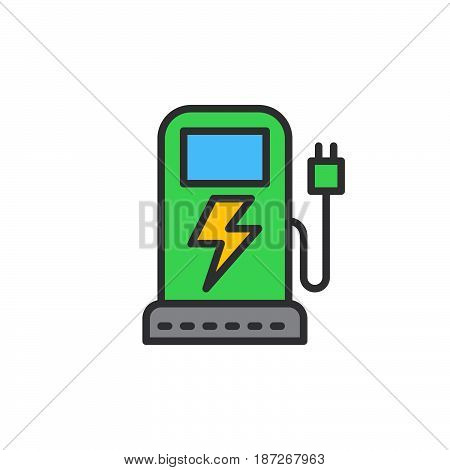 EV charging station filled outline icon line vector sign flat colorful pictogram. Symbol logo illustration. Pixel perfect