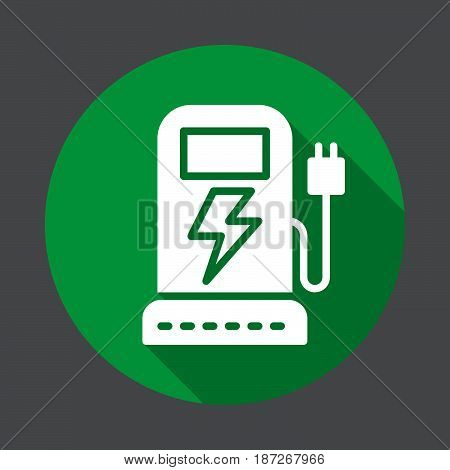EV charging station flat icon. Round colorful button circular vector sign with long shadow effect. Flat style design