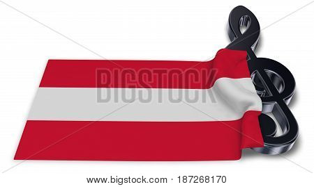 clef symbol and austrian flag - 3d rendering