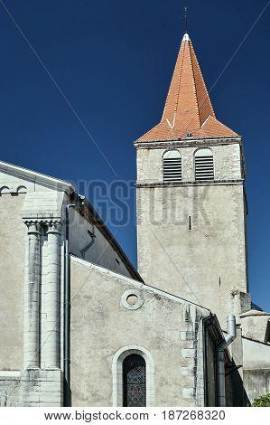 The belfry of a medieval church in Villeneuve-de-Berg France