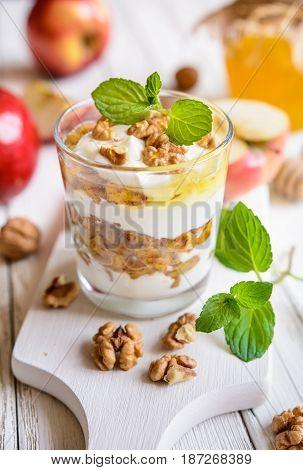 Apple Dessert With Ricotta, Walnut, Cinnamon And Honey