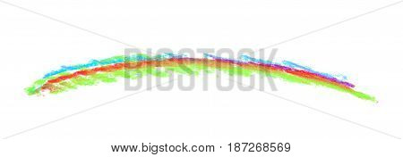 Hand drawn with a colorful chalk line as a design element, composition isolated over the white background