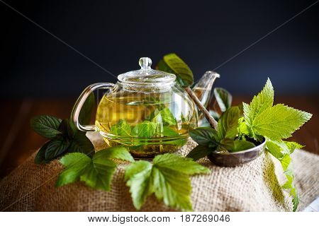 tea with currant leaves on a black background