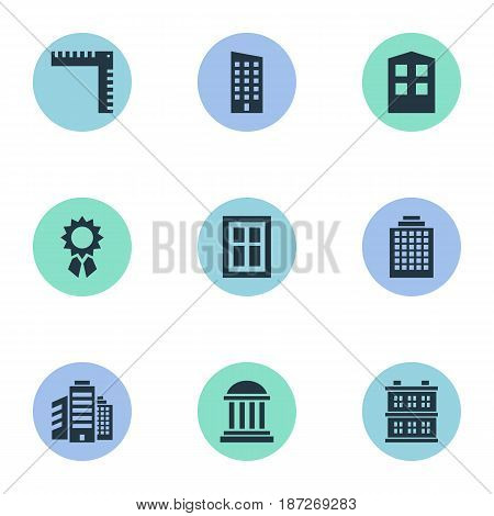 Vector Illustration Set Of Simple Architecture Icons. Elements Floor, Block, Length And Other Synonyms Museum, Block And Construction.