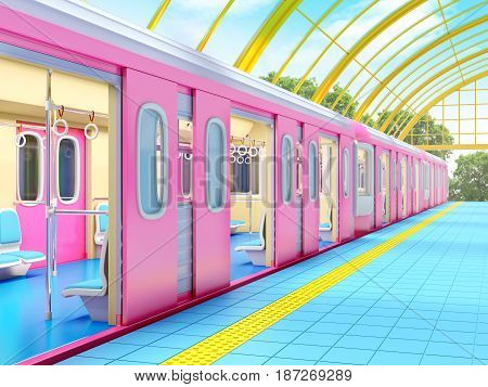 train on fantasy station with golden glass roof. 3d illustration.