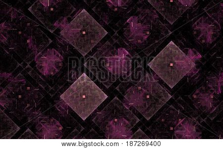 Image of a background of repeating squares arranged at an angle with a point inside and a pattern on a black background