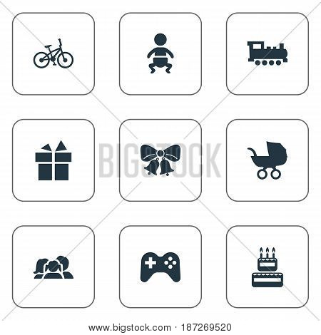 Vector Illustration Set Of Simple Birthday Icons. Elements Infant, Resonate, Train And Other Synonyms Infant, Bicycle And Domestic.