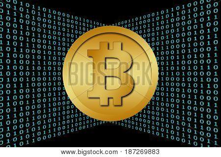 Bitcoin & Cyan Color Binary Code