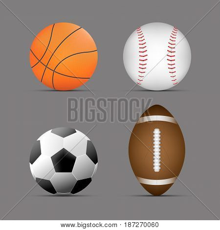 basketball ball, football / soccer ball, rugby / american football ball, baseball ball with gray background.set of sports balls. vector. illustration. graphic design.