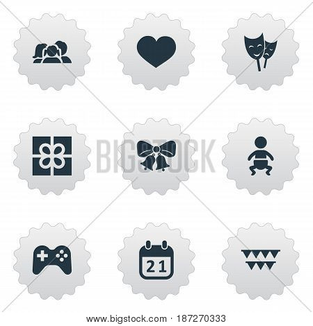 Vector Illustration Set Of Simple Birthday Icons. Elements Game, Infant, Resonate And Other Synonyms Play, Theater And Present.