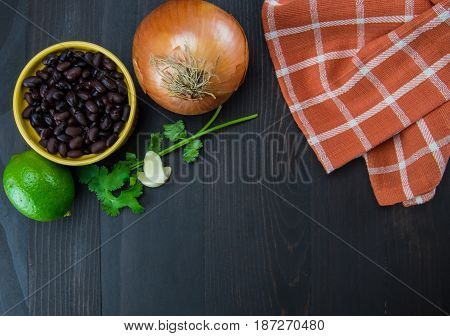 Black Beans and Onion with Copy Space