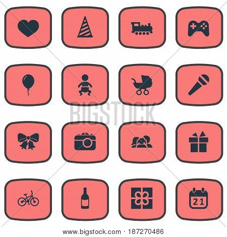 Vector Illustration Set Of Simple Celebration Icons. Elements Game, Soul, Box And Other Synonyms Infant, Feelings And Bicycle.