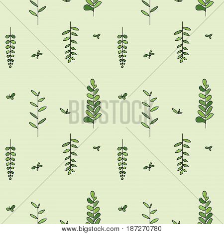 Cute and simple vector pattern with plant twigs
