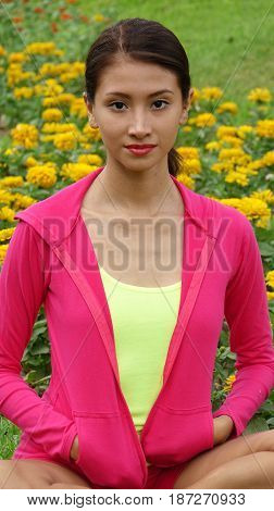 Athletic Peruvian Girl Teenager Wearing Pink and Yellow