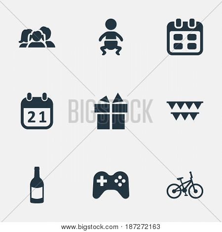 Vector Illustration Set Of Simple Birthday Icons. Elements Bicycle, Special Day, Infant And Other Synonyms Decorations, Joystick And Game.