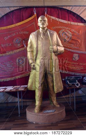 Lenin sculpture.Museum of former Soviet anti-ballistic missile testing range Sary Shagan.May 10, 2017.Priozersk.Kazakhstan